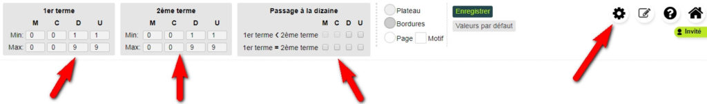Les options de l'appli