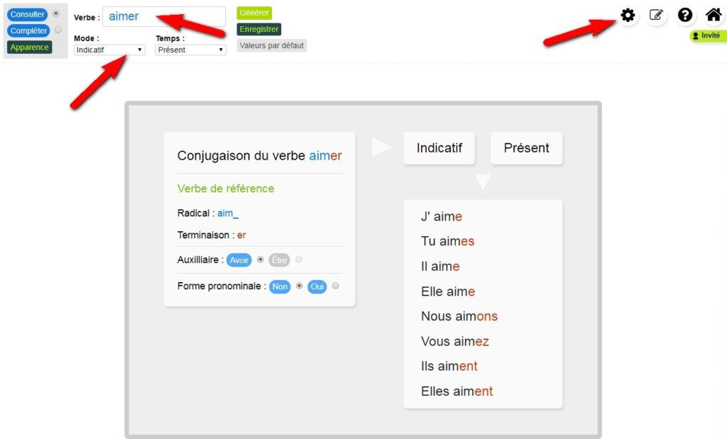 L'interface de l'appli